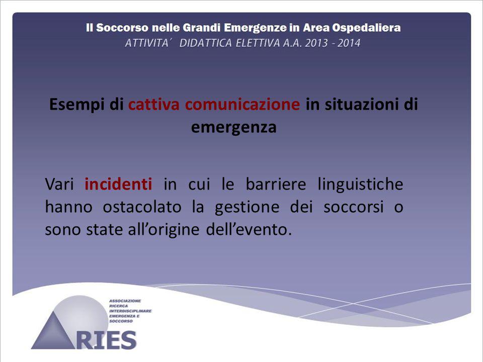 Esempi di cattiva comunicazione in situazioni di emergenza