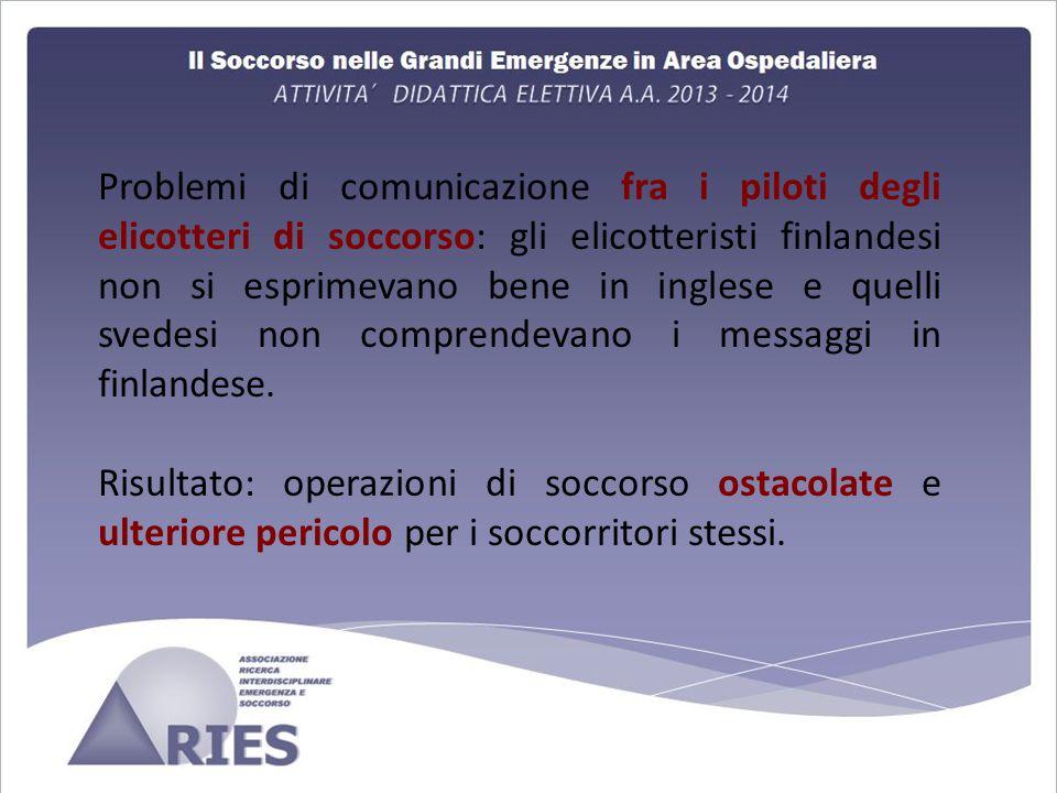Problemi di comunicazione fra i piloti degli elicotteri di soccorso: gli elicotteristi finlandesi non si esprimevano bene in inglese e quelli svedesi non comprendevano i messaggi in finlandese.