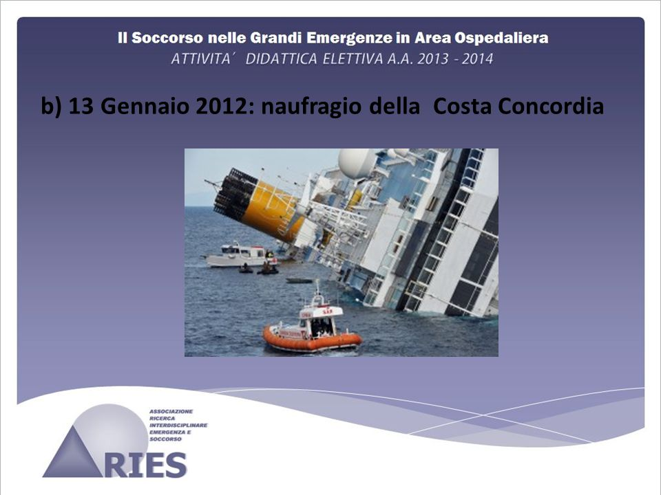 b) 13 Gennaio 2012: naufragio della Costa Concordia