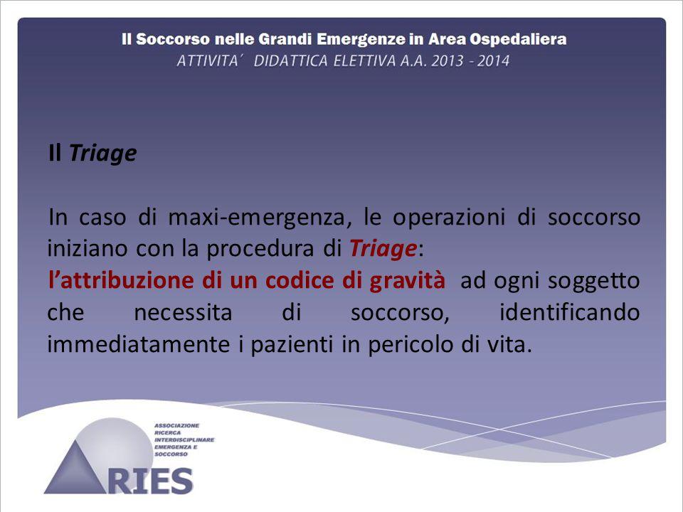 Il Triage In caso di maxi-emergenza, le operazioni di soccorso iniziano con la procedura di Triage:
