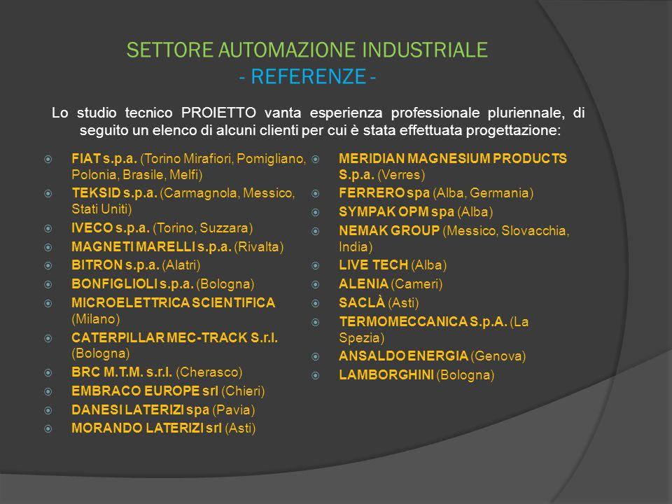 SETTORE AUTOMAZIONE INDUSTRIALE - REFERENZE -