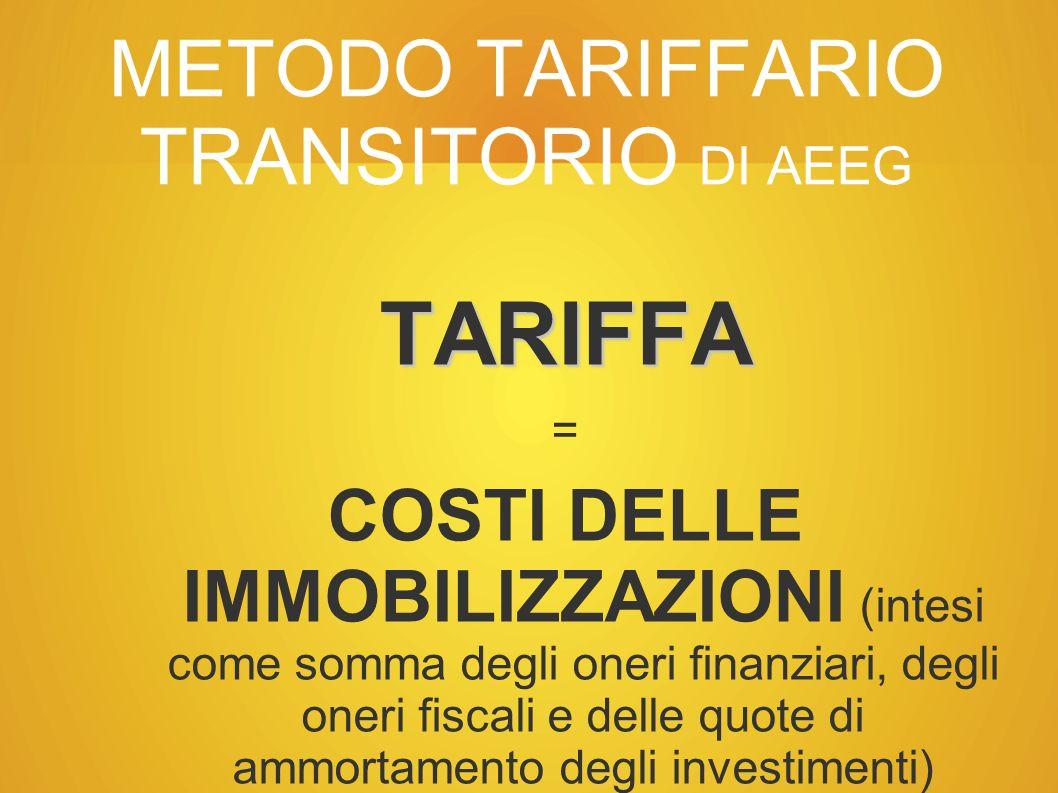 METODO TARIFFARIO TRANSITORIO DI AEEG