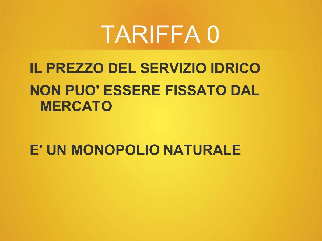 TARIFFA 0 IL PREZZO DEL SERVIZIO IDRICO