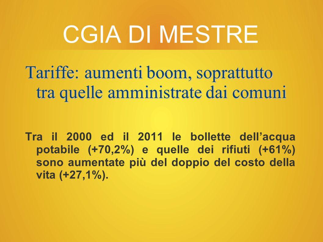 CGIA DI MESTRE Tariffe: aumenti boom, soprattutto tra quelle amministrate dai comuni.