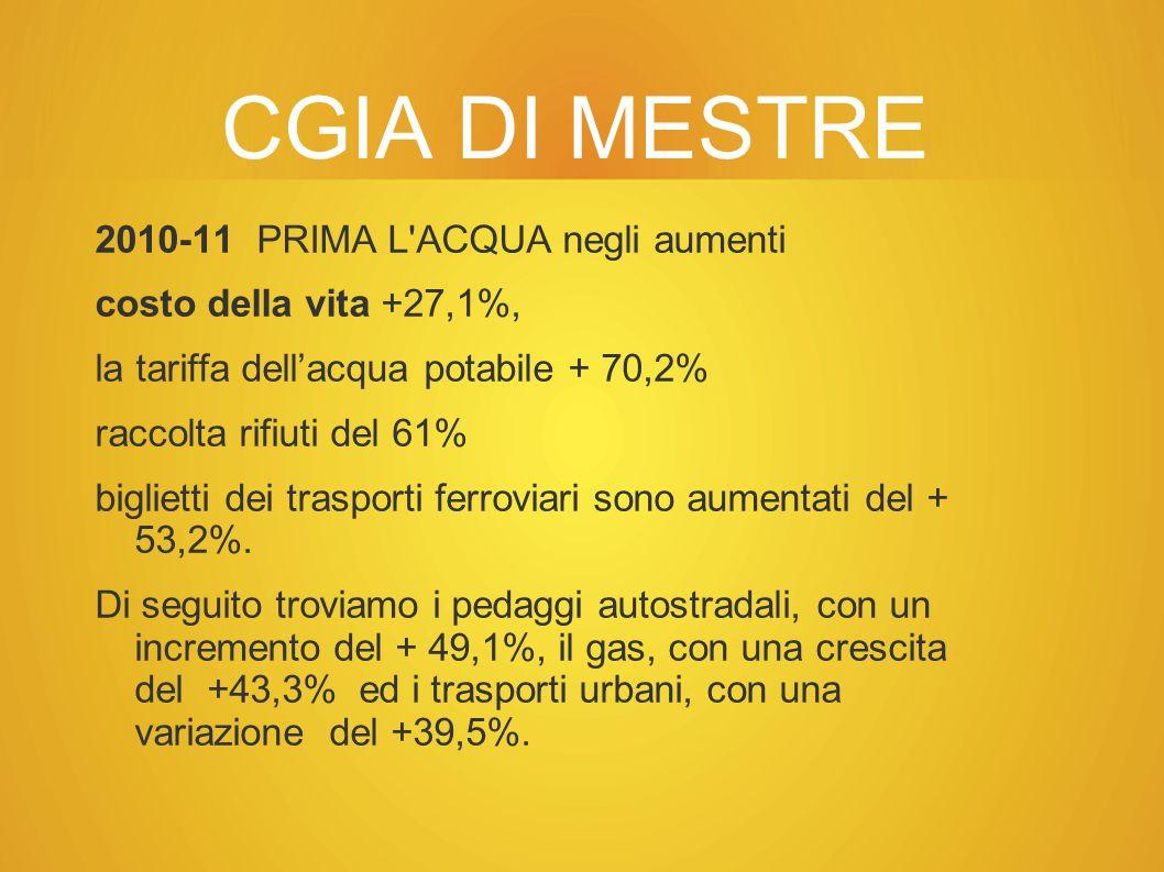 CGIA DI MESTRE 2010-11 PRIMA L ACQUA negli aumenti