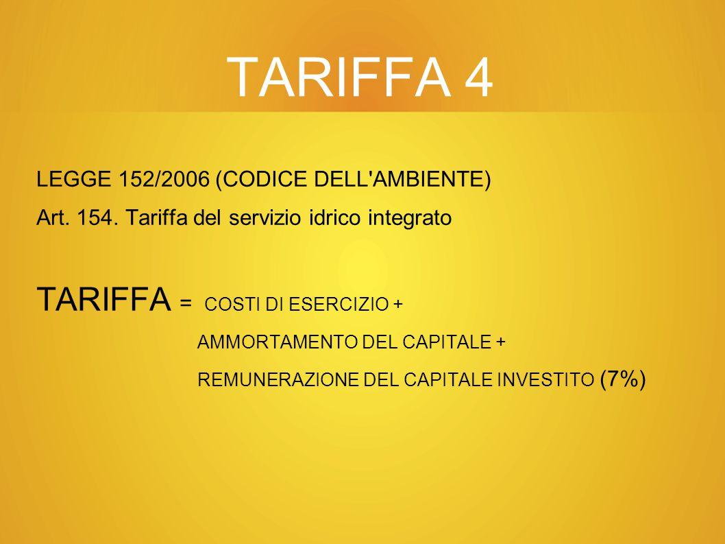 TARIFFA 4 TARIFFA = COSTI DI ESERCIZIO +