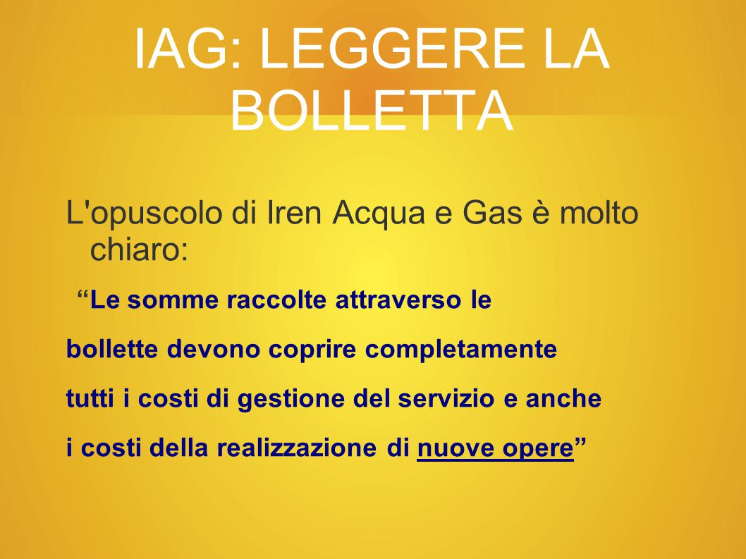 IAG: LEGGERE LA BOLLETTA