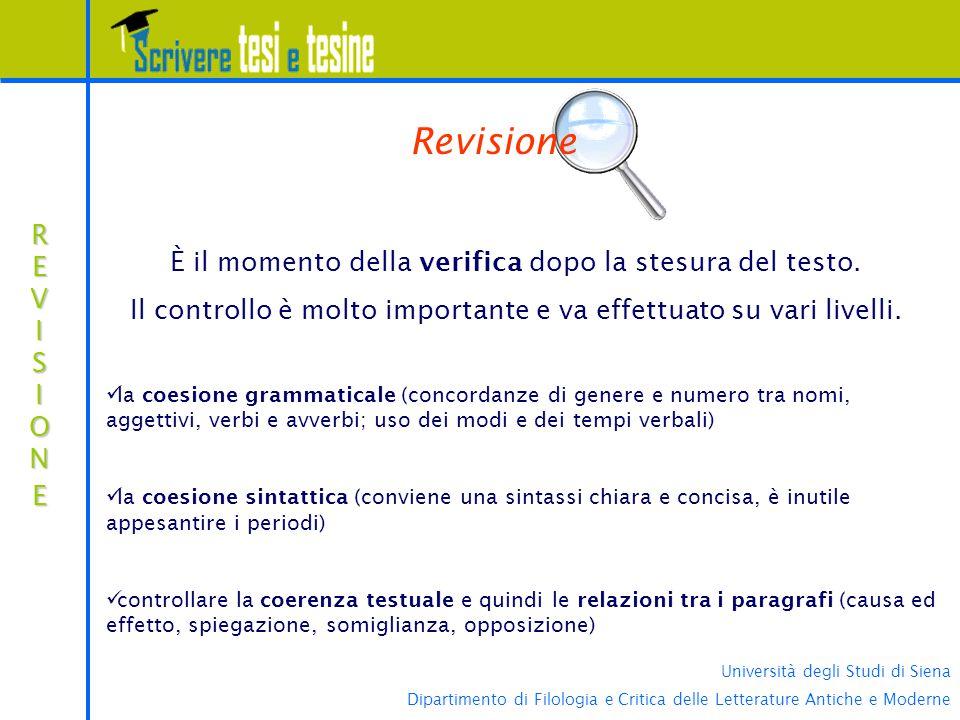 Revisione È il momento della verifica dopo la stesura del testo.