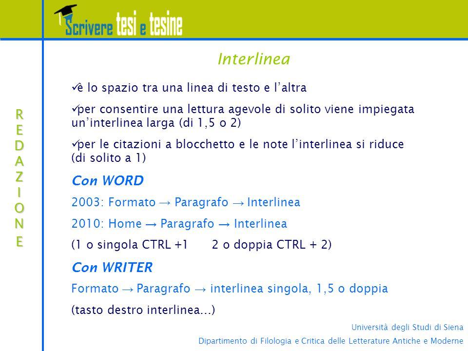 Interlinea Con WORD REDAZIONE Con WRITER