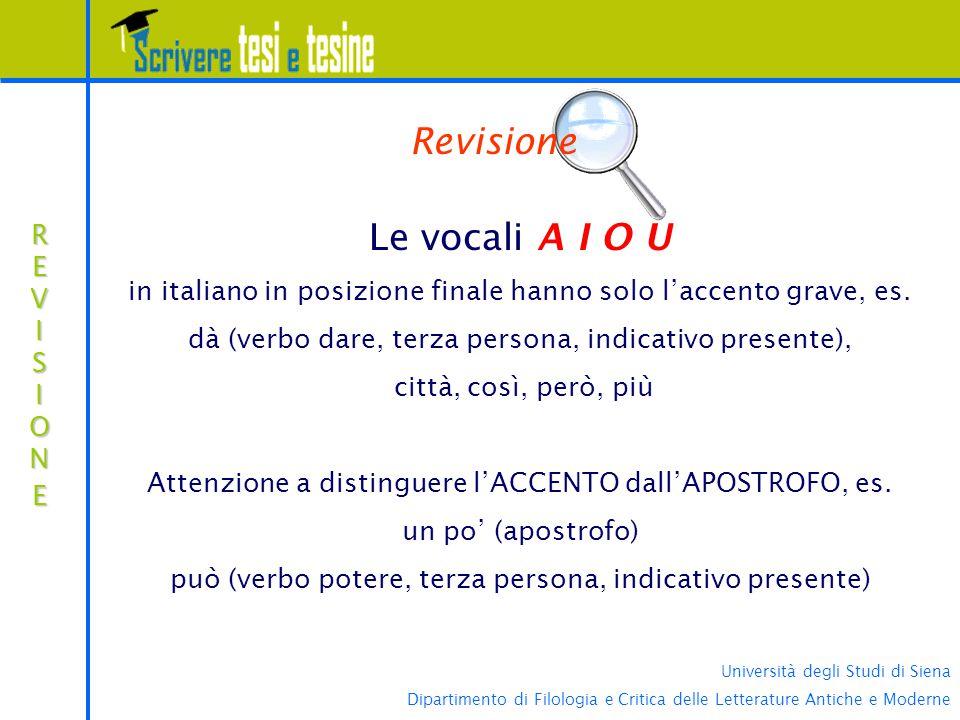 Revisione Le vocali A I O U