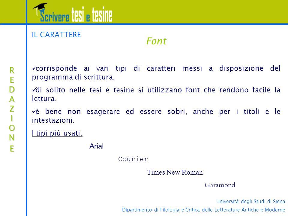 Font REDAZIONE IL CARATTERE