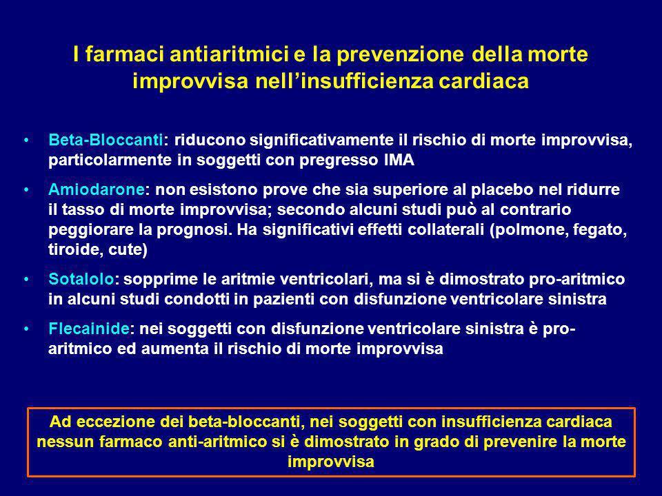 I farmaci antiaritmici e la prevenzione della morte improvvisa nell'insufficienza cardiaca