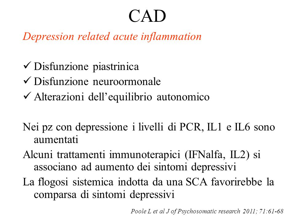 CAD Depression related acute inflammation Disfunzione piastrinica