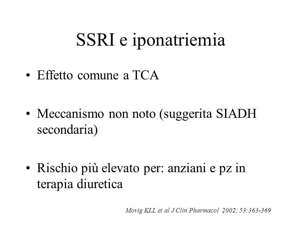 SSRI e iponatriemia Effetto comune a TCA