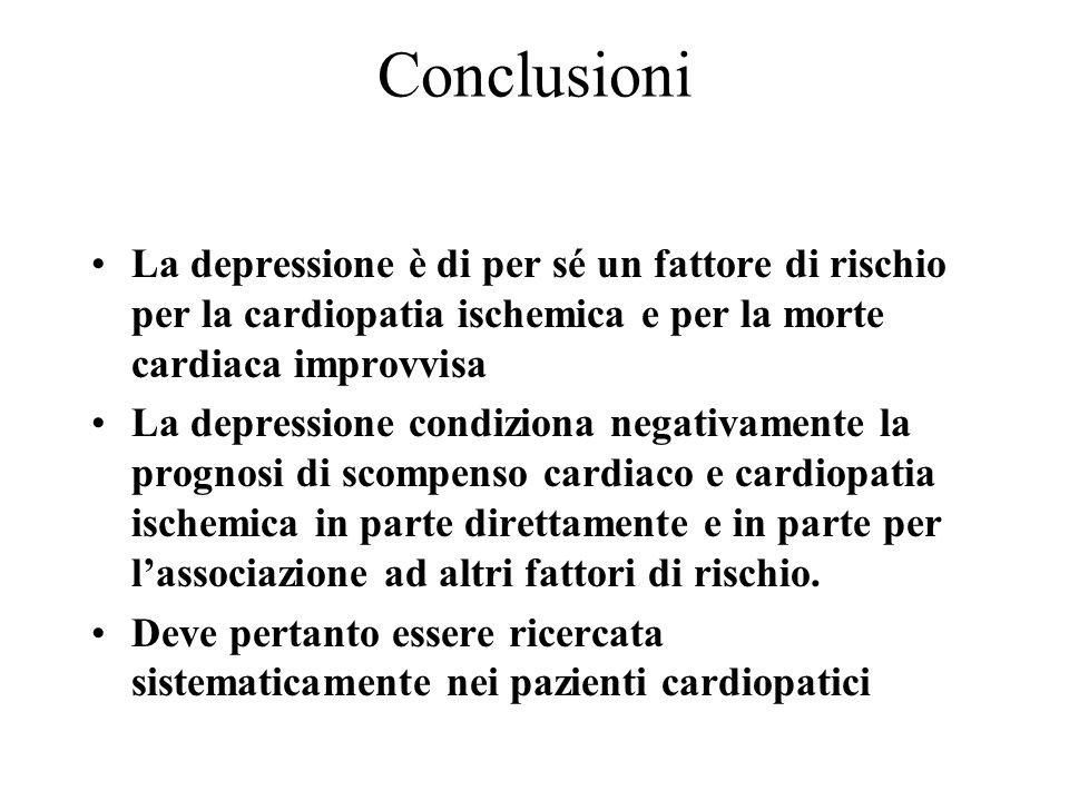 Conclusioni La depressione è di per sé un fattore di rischio per la cardiopatia ischemica e per la morte cardiaca improvvisa.