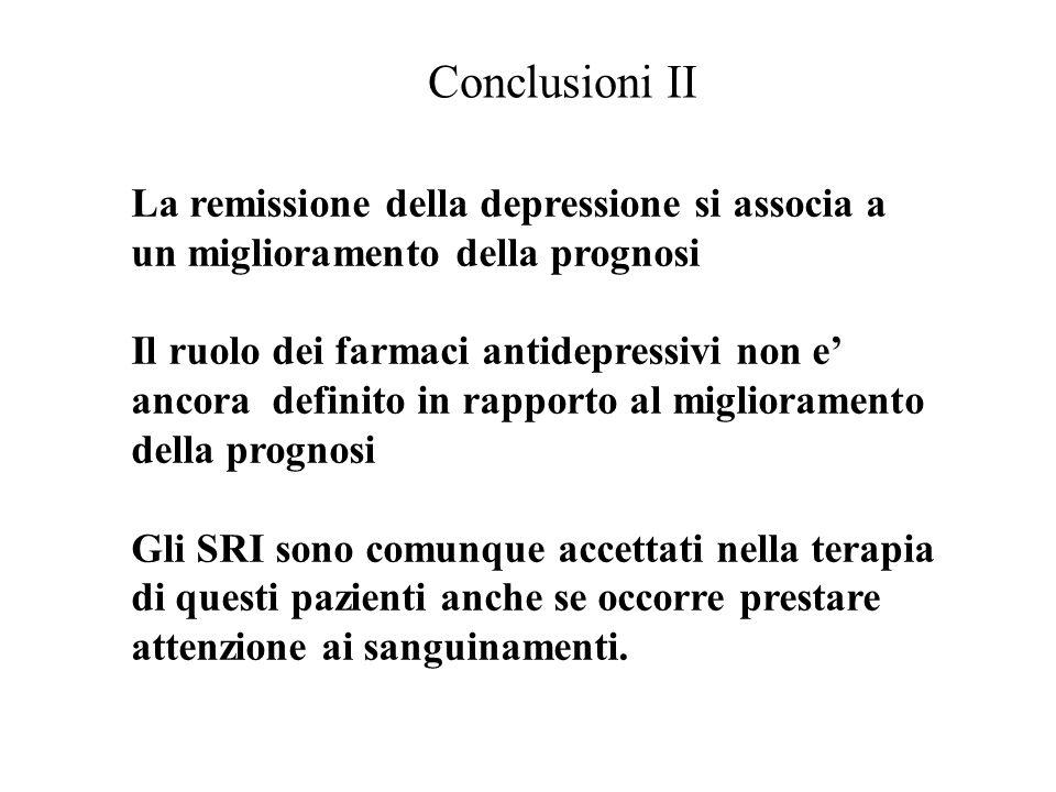 Conclusioni II La remissione della depressione si associa a un miglioramento della prognosi.