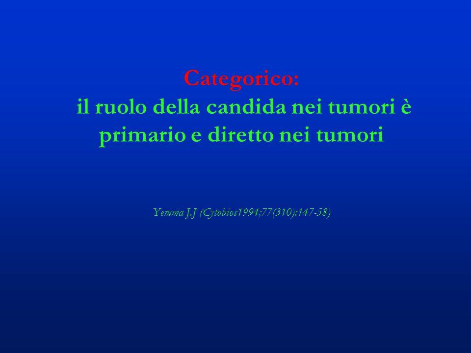 Categorico: il ruolo della candida nei tumori è primario e diretto nei tumori Yemma J.J (Cytobios1994;77(310):147-58)