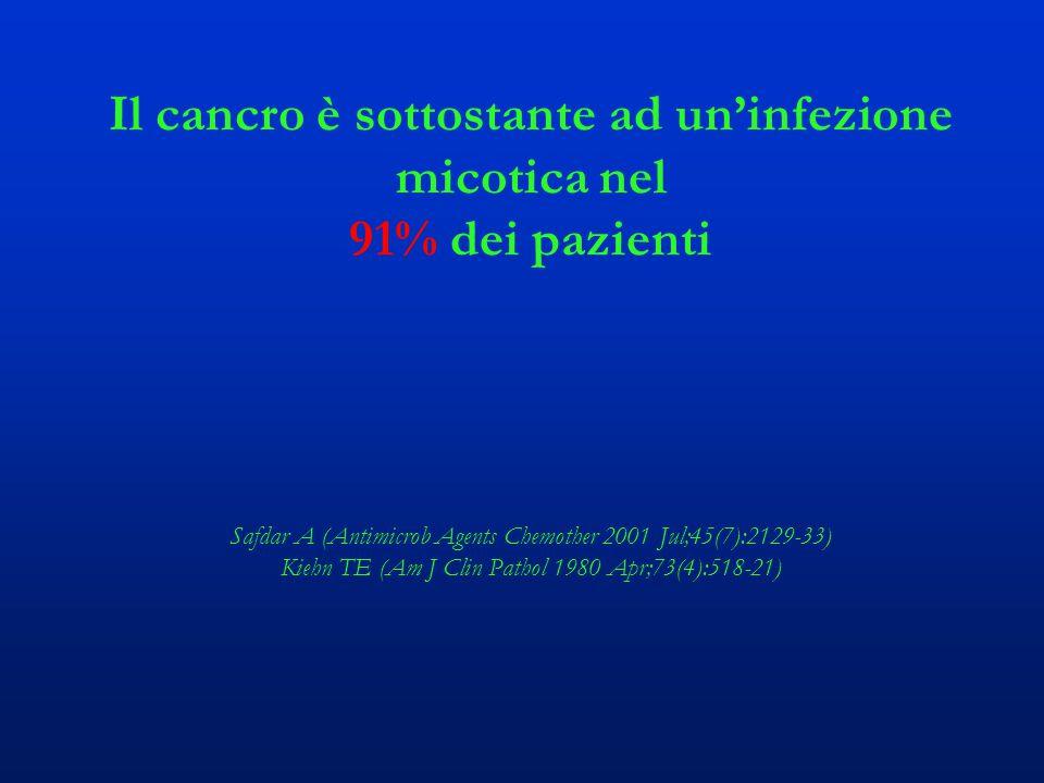Il cancro è sottostante ad un'infezione micotica nel 91% dei pazienti Safdar A (Antimicrob Agents Chemother 2001 Jul;45(7):2129-33) Kiehn TE (Am J Clin Pathol 1980 Apr;73(4):518-21)