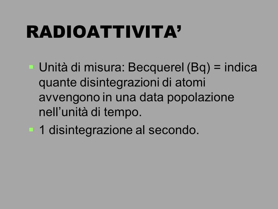 RADIOATTIVITA' Unità di misura: Becquerel (Bq) = indica quante disintegrazioni di atomi avvengono in una data popolazione nell'unità di tempo.