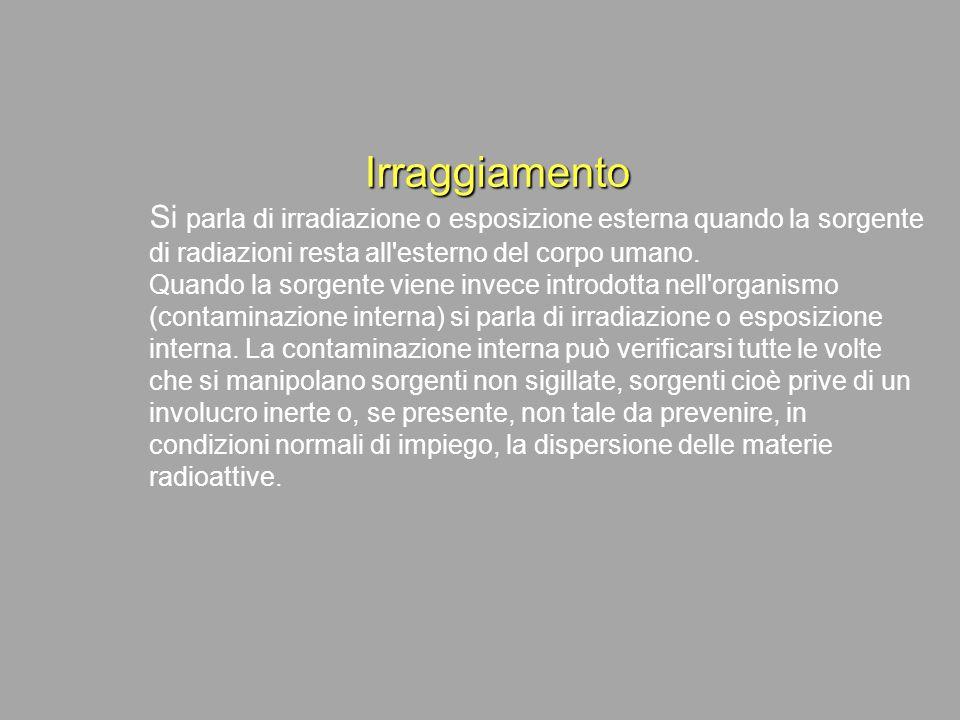 Irraggiamento Si parla di irradiazione o esposizione esterna quando la sorgente di radiazioni resta all esterno del corpo umano.