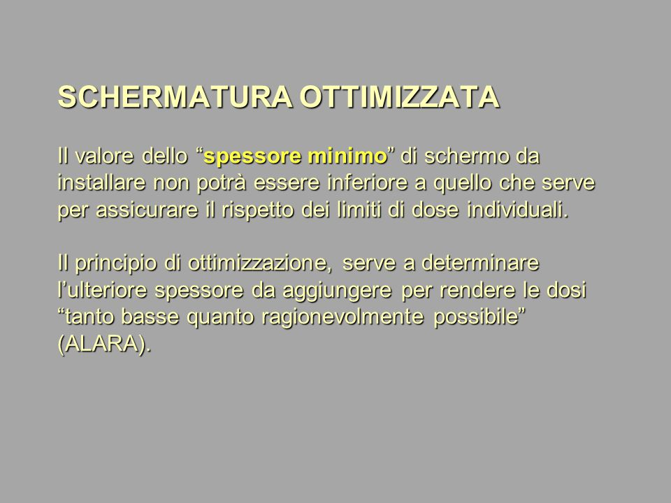 SCHERMATURA OTTIMIZZATA