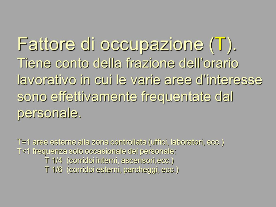 Fattore di occupazione (T)