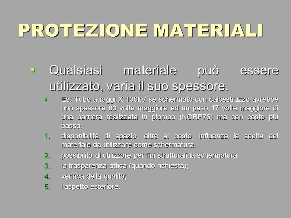 PROTEZIONE MATERIALI Qualsiasi materiale può essere utilizzato, varia il suo spessore.
