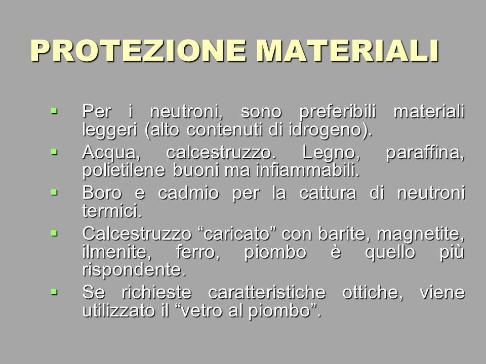PROTEZIONE MATERIALI Per i neutroni, sono preferibili materiali leggeri (alto contenuti di idrogeno).