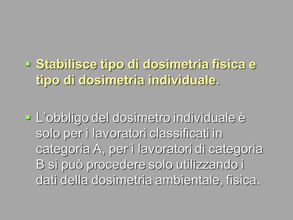 Stabilisce tipo di dosimetria fisica e tipo di dosimetria individuale.