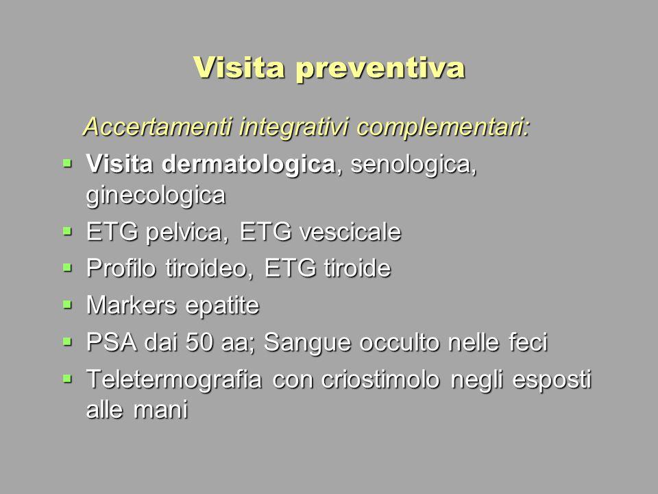 Visita preventiva Accertamenti integrativi complementari: