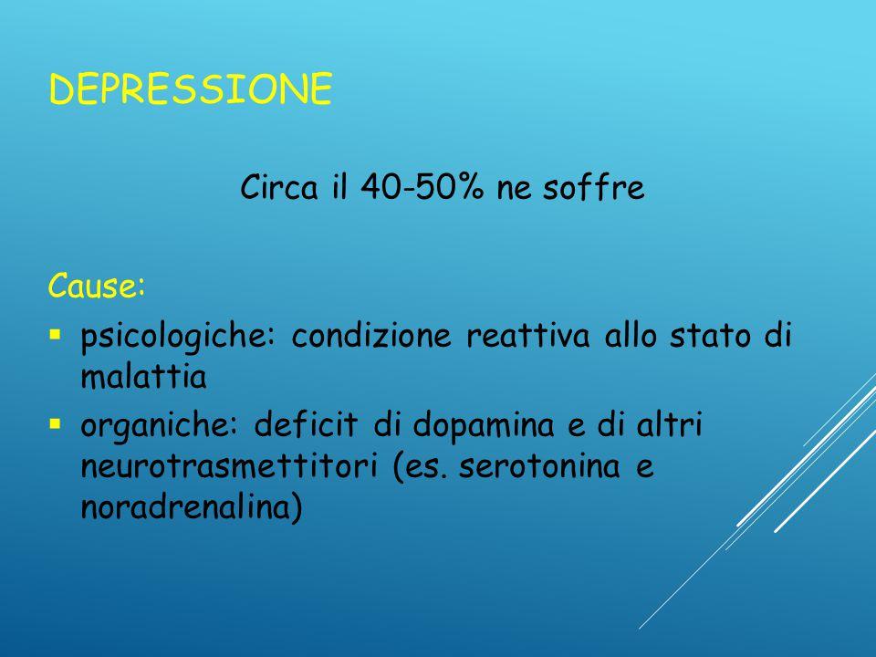DEPRESSIONE Circa il 40-50% ne soffre Cause: