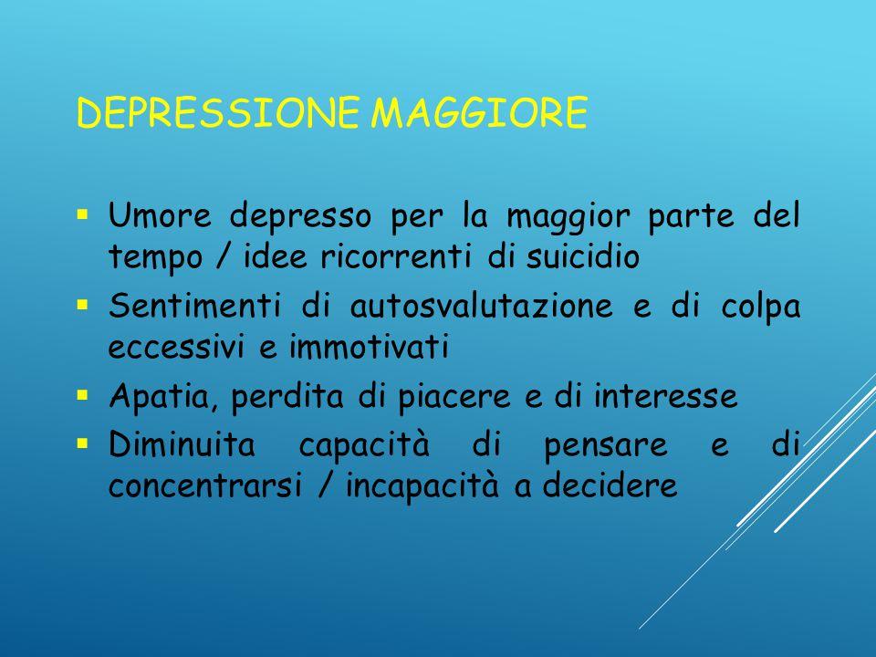 DEPRESSIONE MAGGIORE Umore depresso per la maggior parte del tempo / idee ricorrenti di suicidio.
