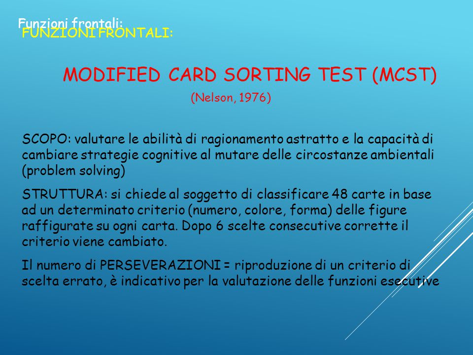 MODIFIED CARD SORTING TEST (MCST)