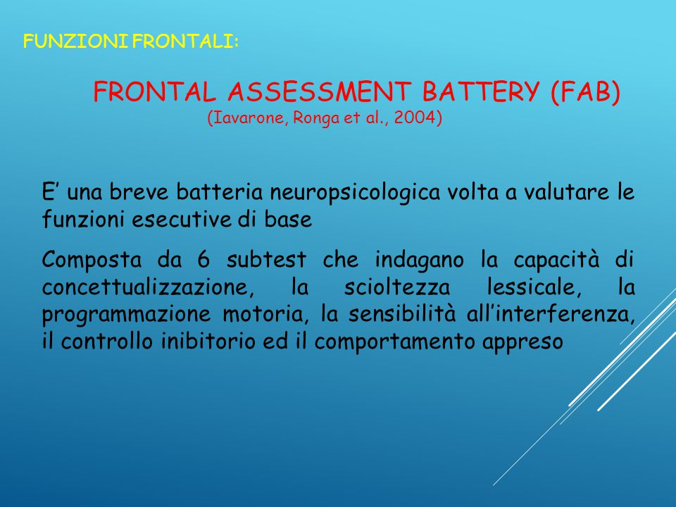FRONTAL ASSESSMENT BATTERY (FAB)
