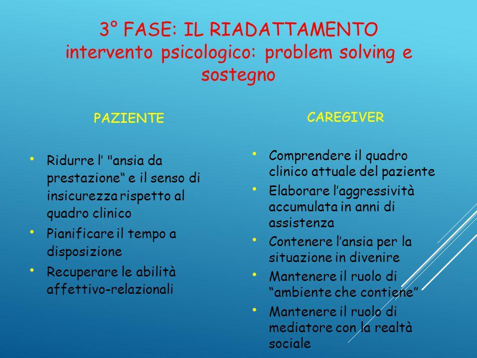 3° FASE: IL RIADATTAMENTO intervento psicologico: problem solving e sostegno