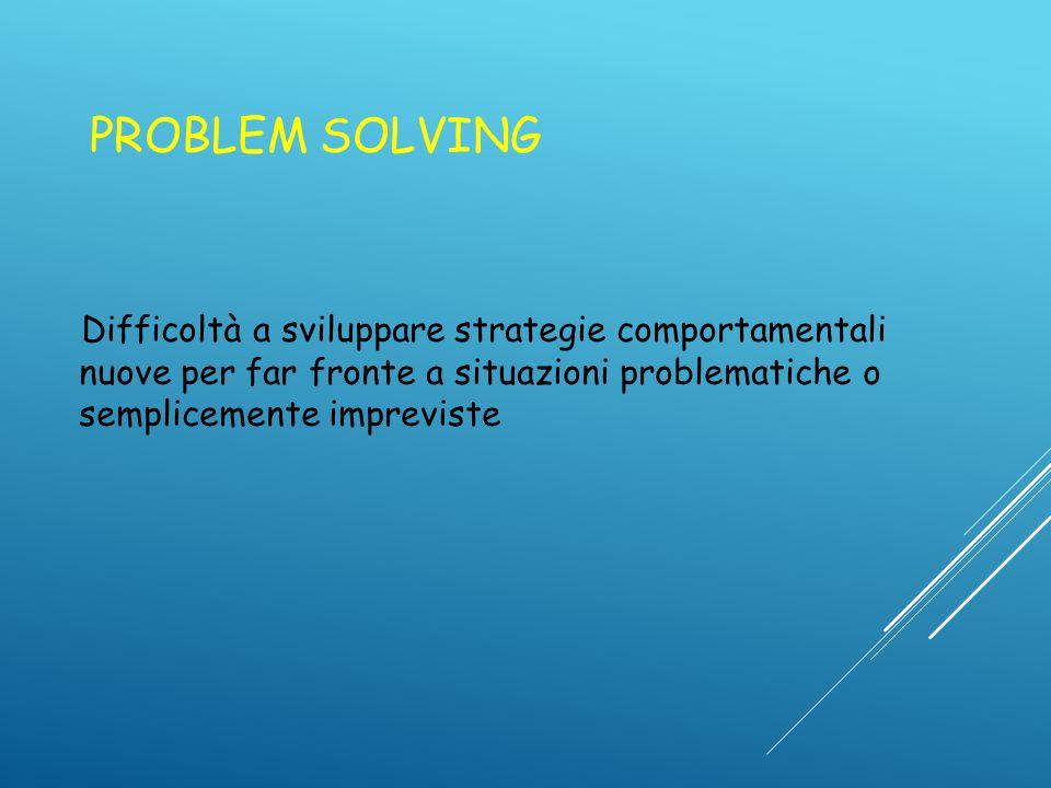 PROBLEM SOLVING Difficoltà a sviluppare strategie comportamentali nuove per far fronte a situazioni problematiche o semplicemente impreviste.