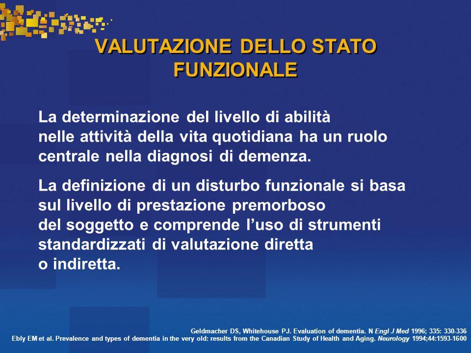VALUTAZIONE DELLO STATO FUNZIONALE