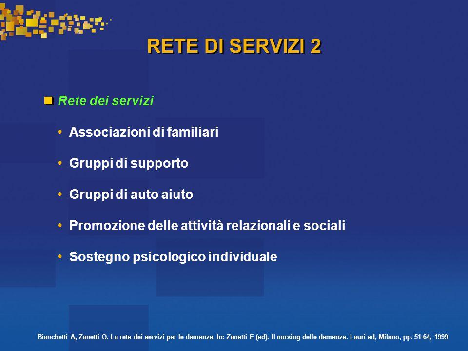 RETE DI SERVIZI 2 Rete dei servizi • Associazioni di familiari