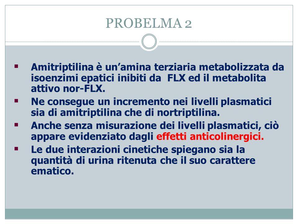 PROBELMA 2 Amitriptilina è un'amina terziaria metabolizzata da isoenzimi epatici inibiti da FLX ed il metabolita attivo nor-FLX.