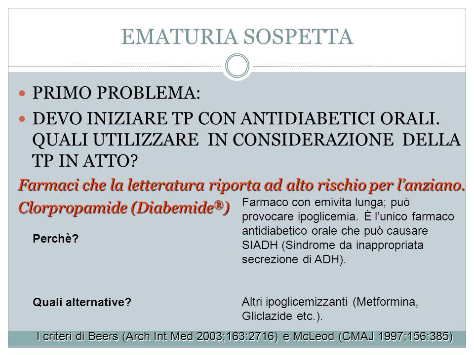 EMATURIA SOSPETTA PRIMO PROBLEMA: