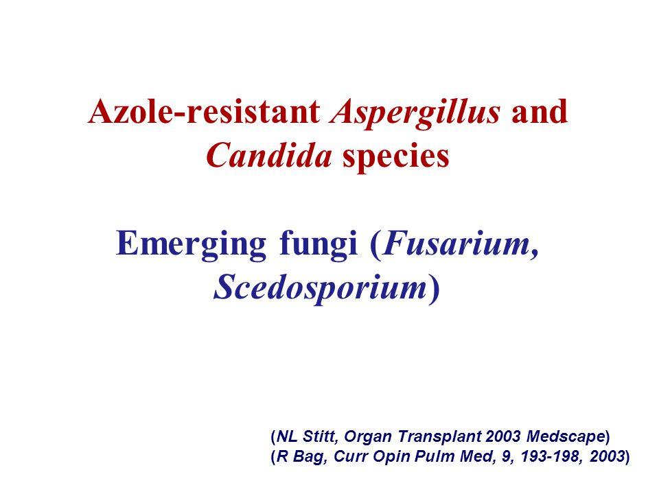 Azole-resistant Aspergillus and Candida species Emerging fungi (Fusarium, Scedosporium)