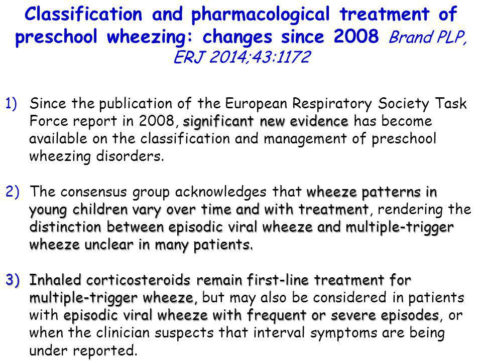 Classification and pharmacological treatment of preschool wheezing: changes since 2008 Brand PLP, ERJ 2014;43:1172
