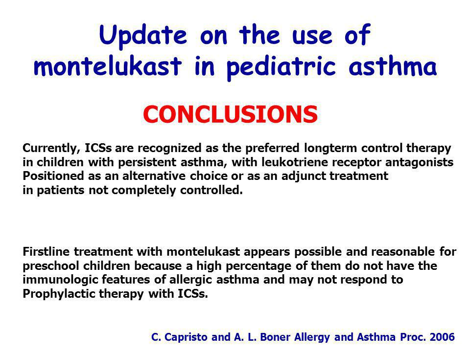 Update on the use of montelukast in pediatric asthma