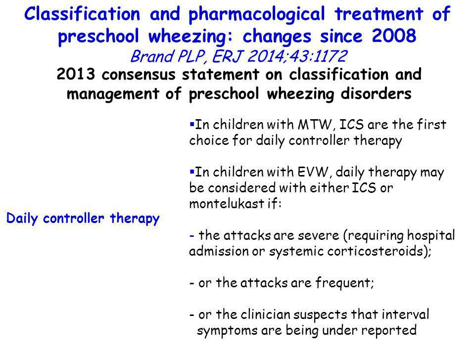 Classification and pharmacological treatment of preschool wheezing: changes since 2008