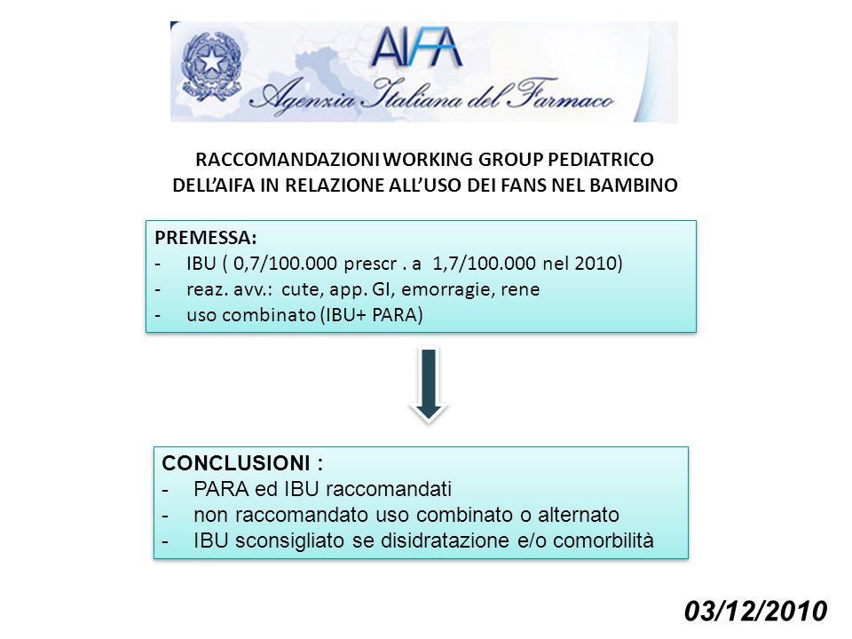 03/12/2010 RACCOMANDAZIONI WORKING GROUP PEDIATRICO
