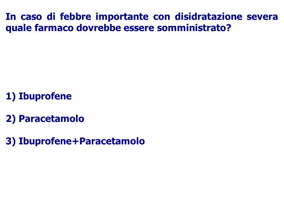 In caso di febbre importante con disidratazione severa quale farmaco dovrebbe essere somministrato