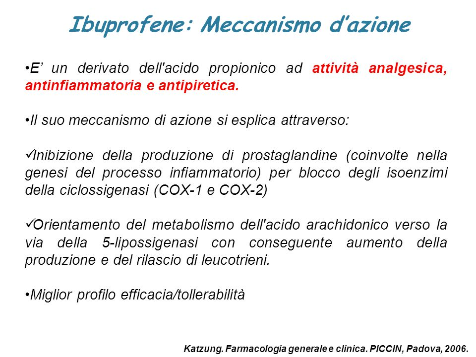 Ibuprofene: Meccanismo d'azione
