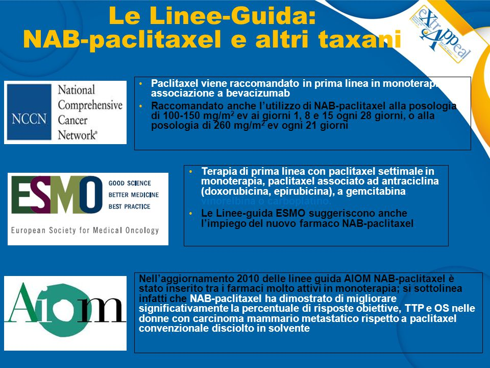 Le Linee-Guida: NAB-paclitaxel e altri taxani