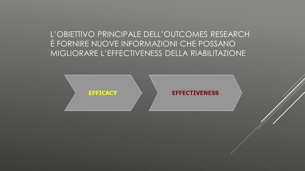 L'obiettivo principale dell'outcomes research è fornire nuove informazioni che possano migliorare l'effectiveness della riabilitazione