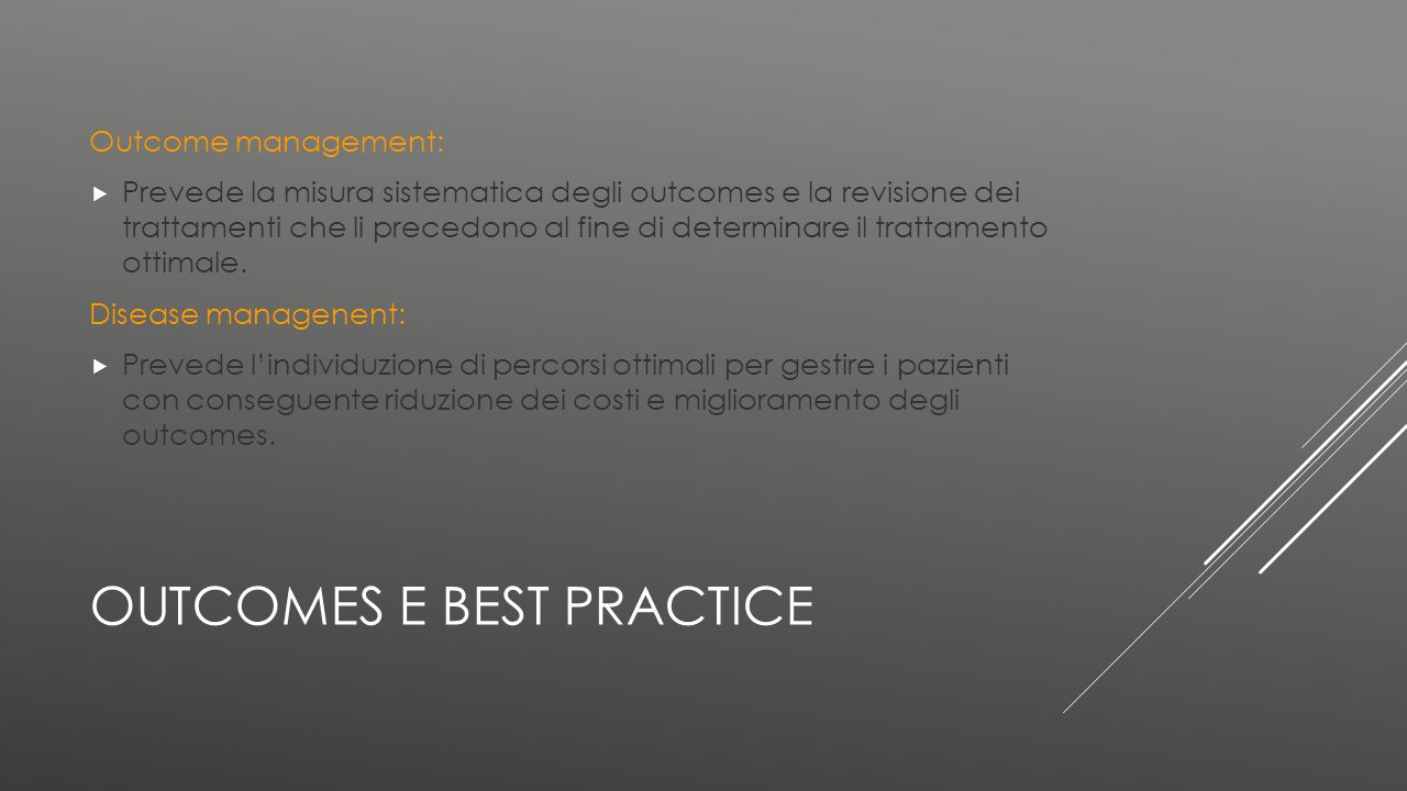 Outcomes e best practice